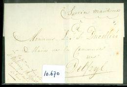 BRIEFOMSLAG Uit 1813 Gelopen Van LOKAAL DELFZIJL V/d COMM'T Der FRANSE ZEESTRIJDKRACHTEN Op De EEMS Per MIL POST (10.670 - Holanda