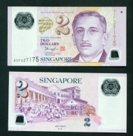 SINGAPORE  -  2015  $2  2 Hollow Stars On Reverse  UNC Banknote - Singapore