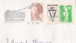 50 Ième ANNIVERSAIRE LIBERATION D'ALBERVILLE Savoie. FAVERGE HAUTE SAVOIE. Timbre Personnalisé. - Postmark Collection (Covers)