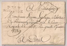Ecrite De MONTESQUIOU Gers P.31.P MIRANDE Port Payé. Aout 1814. Cote 110 EUR - Storia Postale