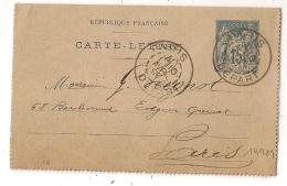 Section De Levée 1/4 PARIS DEPART  Sur Carte Lettre Au Type SAGE. - 1877-1920: Periodo Semi Moderno
