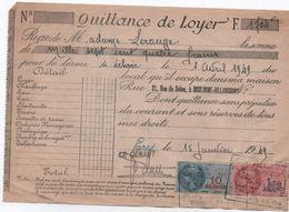 Quittance De Loyer /Reçu/Timbre Fiscal 10 Francs Et 1,50 Franc/ Boulogne-Billancourt/ 1949                      QUIT27 - Old Paper