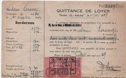 Quittance De Loyer /Reçu/Timbre Fiscal 5 Francs + 5 Francs Et 1,50 Franc/ Boulogne-Billancourt/ 1949       QUIT28 - Old Paper