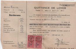 Quittance De Loyer /Reçu/Timbre Fiscal 8 Francs , Et 3 Francs / Boulogne-Billancourt/ 1950       QUIT30 - Old Paper