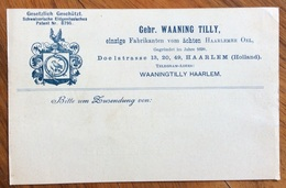 NEDERLAND PAESI BASSI  KART Advertisement GEDR. WAANING TILLY HAARLEM - Brieven En Documenten