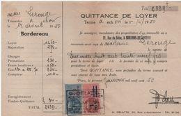 Quittance De Loyer /Reçu/Timbre Fiscal 10 Francs Et 1,10 Surchargé/ Boulogne-Billancourt/ 1950       QUIT32 - Old Paper