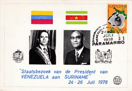 Suriname : FDC  ( Sir Rowland Hill ) Nr 769 / Staatsbezoek President VENEZUELA  Met Nr 706 - Surinam