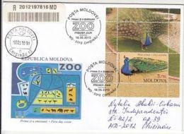 70239- PEACOCK, BIRDS, ZOO, REGISTERED COVER FDC, 2013, MOLDOVA - Peacocks