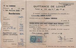 Quittance De Loyer /Reçu/Timbre Fiscal 13 Francs / Boulogne-Billancourt/ 1951       QUIT34 - Old Paper