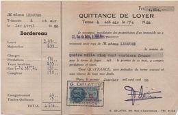 Quittance De Loyer /Reçu/Timbre Fiscal 13 Francs / Boulogne-Billancourt/ 1952       QUIT35 - Old Paper