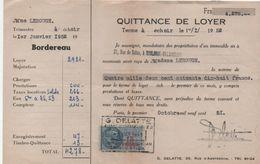 Quittance De Loyer /Reçu/Timbre Fiscal 13 Francs / Boulogne-Billancourt/ 1951       QUIT36 - Old Paper