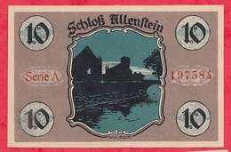 Allemagne 1 Notgeld 10 Pfenning  Stadt Allenstein UNC Lot N °462 - [ 3] 1918-1933 : République De Weimar