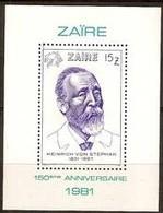 Zaire 1981 OCBn°  Bloc 50 *** MNH Cote 8,00 Euro Heinrich Von Stefan - 1980-89: Neufs