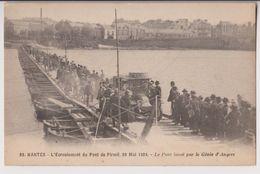 NANTES : L'ECROULEMENT DU PONT DE PIRMIL EN 1924 - PONT LANCE PAR LE GENIE D'ANGERS - 2 SCANS - - Nantes