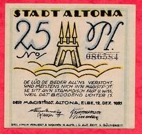 Allemagne 1 Notgeld 25 Pfenning  Stadt Altona UNC Lot N °478 - [ 3] 1918-1933: Weimarrepubliek