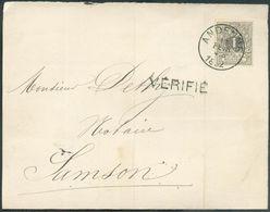 N°43 - 1c. Gris Obl. Sc ANDENNES Sur Imprimé Du 12 Février 1892 Vers Samson + Griffe VERIFIE - 1271310 - 1884-1891 Léopold II