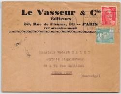 LETTRE  DE PARIS 1948 AFFRANCHIE AVEC GANDON => CAMBODGE INDOCHINE COVER - Marcophilie (Lettres)