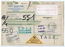 RC 8120 SUISSE 1987 BULLETIN D'EXPÉDITION DE LOCARNO POUR LA FRANCE - Schweiz