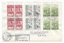 TRE QUARTINE - LIRE 60 - 25 - 15 - XL ANNIVERSARIO DELLA VITTORIA SU BUSTA ANNO 1958 - 1946-60: Usados