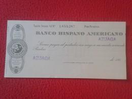ANTIGUO TALÓN, CHEQUE, PAGARÉ O SIMILAR DOCUMENTO BANCO HISPANO AMERICANO SPANISH BANK CHECK SPAIN ESPAÑA VER FOTO/S Y D - España