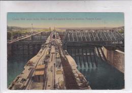 PANAMA. CENTER WALL UPPER LOCKS, GATUN,WITH EMERGENCY DAM IN POSITION, PANAMA CANAL. I L MADURO JR. No 5176.-TBE-BLEUP - Panama
