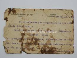DRESDA DRESDEN Consolato D'Italia 1 WW Vecchio Documento 1914 Rimpatrio - 1914-18
