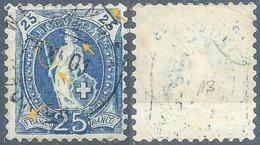 Stehende Helvetia 73D, 25 Rp.blau  (rs Abklatsch / Abart)       1901 - Usati