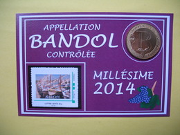 """Pièce De Collection Aubagne Philatélie   N° 63/120 """" Appellation Bandol Contrôlée    Avec Timbre - France"""