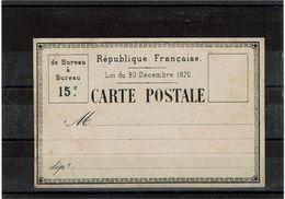 BR38Z - CARTE PRECURSEUR MOD. 25 ESSAI DE L'IMPRIMERIE NATIONALE LOI DECEMBRE 1872 - Postal Stamped Stationery