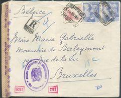 Lettre Affr. Franco à 150vcos Obl. CERTIFICADO SAN SEBASTIAN Sur Lettre Recommandée Du 8 Mai 1939 Vers Bruxelles+ Bande - Marcas De Censura Nacional