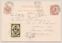 Suriname - 1892 - 2,5 Cent Hulpzegel Op 2,5+2,5 Cent Briefkaart G8 - Stoomschepen Rechtstreeks Naar Amsterdam - Suriname ... - 1975