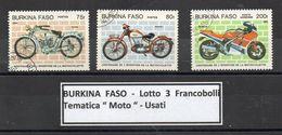 """Burkina Faso - 1985 - Lotto Di 3 Francobolli Tematica """" Moto """" - Usati - (FDC8886) - Burkina Faso (1984-...)"""