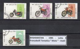 "Afghanistan - 1985 - Lotto Di 4 Francobolli Tematica "" Moto "" - Usati - (FDC8890) - Afghanistan"