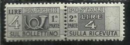 ITALY REPUBLIC ITALIA REPUBBLICA 1946 - 1951 PACCHI POSTALI PARCEL POST 1947 LIRE 4 FILGRANA RUOTA WHEEL WATERMARK MNH - Postpaketten