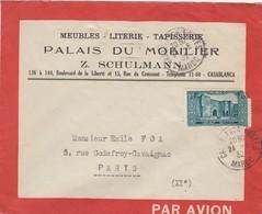 LETTRE MAROC. 5 2 34. ENVELOPPE ROUGE LIGNE FRANCE-MAROC. CASABLANCA PALAIS DU MOBILIER Z.SCHULMANN. POUR PARIS  / 2 - Maroc (1891-1956)