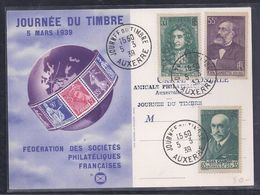 Carte Federale  Journee Du Timbre 1939 Auxerre Moliere Gambetta Charcot - Lettres & Documents