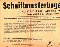 Schnittmusterbogen 17 /entnommen Aus Ratgeber Fuer Haus Und Familie /Datum Unbekannt - Books, Magazines, Comics