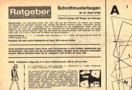 Schnittmusterbogen 67 /entnommen Aus Ratgeber Fuer Haus Und Familie /Datum Unbekannt - Books, Magazines, Comics