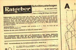 Schnittmusterbogen 59 /entnommen Aus Ratgeber Fuer Haus Und Familie /Datum Unbekannt - Books, Magazines, Comics