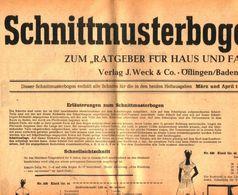 Schnittmusterbogen 14 /entnommen Aus Ratgeber Fuer Haus Und Familie /Datum Unbekannt - Books, Magazines, Comics