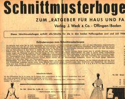 Schnittmusterbogen 15 /entnommen Aus Ratgeber Fuer Haus Und Familie /Datum Unbekannt - Books, Magazines, Comics