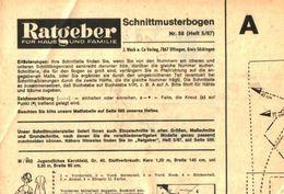 Schnittmusterbogen 58 /entnommen Aus Ratgeber Fuer Haus Und Familie /Datum Unbekan58 - Books, Magazines, Comics