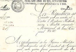 C) ECUADOR, QUITO FRANCA SELLO DE LA REPUBLICA DE ECUADOR 1851-1852 - Stamps