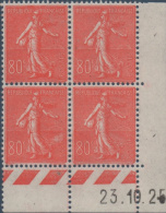 N°__203 COIN DATE 80C ROUGE TIMBRES NEUFS** - ....-1929
