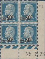 N°__222 COIN DATE 50C. S. 1FR25 BLEU TYPE PASTEUR SURCHARGE TIMBRES NEUFS**/*, 1926-1927 - ....-1929