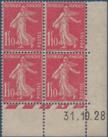 N°__238 COIN DATE 1F.10 ROSE TIMBRES NEUFS**, 1927-1931 - ....-1929