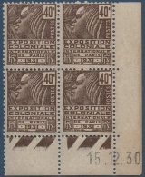 N°__271 COIN DATE EXPOSITION COLONIALE TIMBRES NEUFS **/* 1930 - 1930-1939