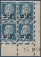 N°__222 COIN DATE 50C. S. 1FR25 BLEU TYPE PASTEUR SURCHARGE TIMBRES NEUFS**/*, 1926-1927 - Coins Datés