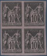COLONIES GENERALES N°_40 BLOC DE 4 TIMBRES TYPE SAGE 10C NOIR S. LILAS, TIMBRE NEUF* 1878-1880 - Sage
