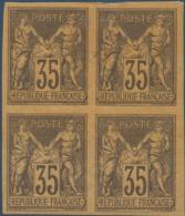 COLONIES GENERALES N°_45 BLOC DE 4 TIMBRES, TYPE SAGE 35C VIOLET-NOIR SUR JAUNE, TIMBRE NEUF* - Sage